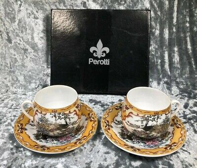 Perotti Asian Oriental Small Cup And Saucers In Gift Box