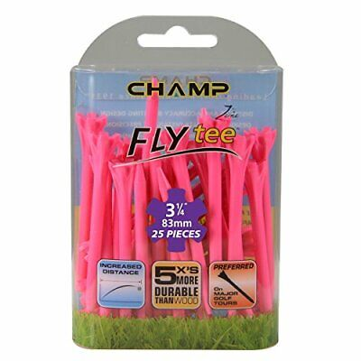 """Champ Zarma Golf Fly Tees, Neon Pink, 3.25"""", pack of 25 tees"""