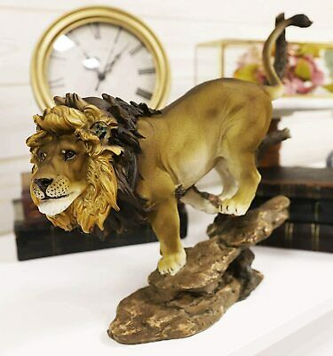 "Ebros Lion King of The Jungle Running Down A Sloping Rock Statue 11.25"" Long"