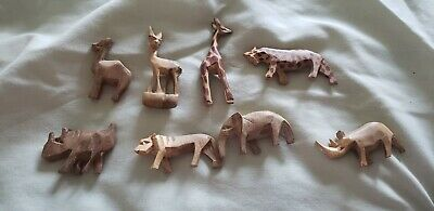 Vintage Hand Carved and Painted (some) Lot Of 8 Wooden African Safari Animals