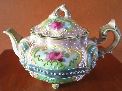 Antique Japanese Moriage Footed Floral Teapot