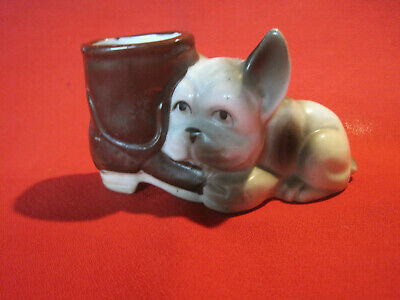 Vintage French bulldog puppy with cowboy boot figurine, Made in Japan