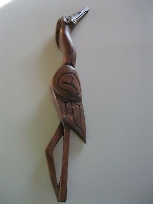 Carved Wooden Crane Wall Art, Norhwest Native Style
