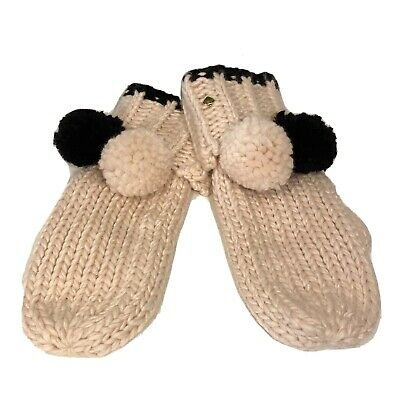KATE SPADE Womans Two Pom Hand Knit Mittens Gloves Pink Black (MSRP $58)