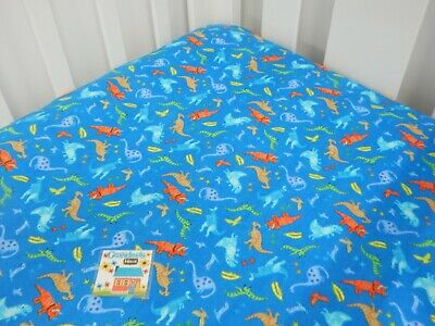 Flannelette Cot Fitted Sheet Dinosaurs Blue