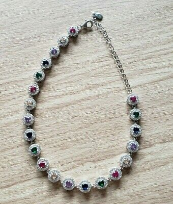 """Brand New Solid Sterling Silver Mixed Stone and Topaz Tennis Bracelet 8"""" - 10"""""""