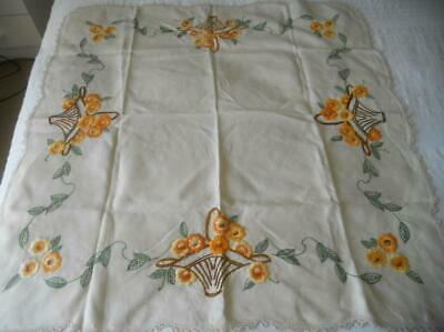 Vintage 50'S Richly Embroidered Linen Table Cloth Baskets Flowers Crochet Edging