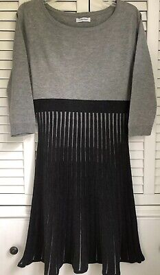 CALVIN KLEIN WOMENS DRESS 3/4 SLEEVE STRETCH LIGHT GRAY DARK GRAY LIKE NWOT Sz M