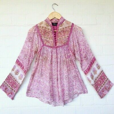 Vintage 70s Indian Cotton Gauze Block Print Boho Hippie Blouse Top