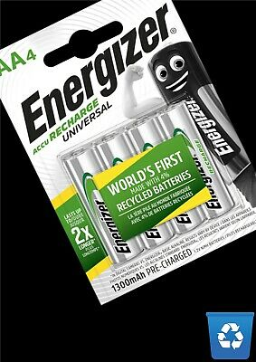 Energizer AA Rechargeable 1300 mAh Power Plus Batteries - 4 Pack Pre-Charged