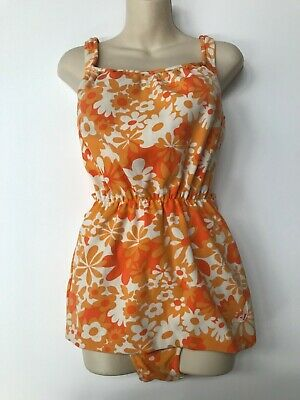 ORIGINAL 1960's MISS JANTZEN ORANGE FLORAL VINTAGE SWIMSUIT SIZE 40 MADE IN AUST