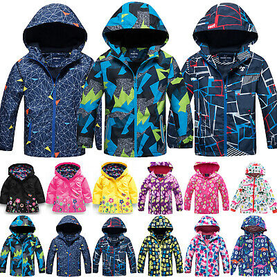 Kid Boys Girls Hooded Jacket Coat Winter Waterproof Raincoat Windbreaker Outwear