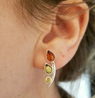Brand New Solid Sterling Silver Stud Earrings with Mixed Amber Stones