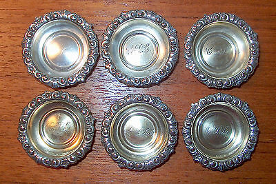 6 Matching Whiting Sterling Individual Salt Dishes w/ Gold Wash