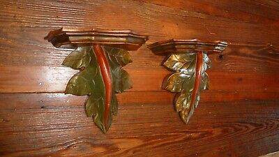Pair Hand carved Wood CORBEL SHELF SCONCE Wall shelves Plant Tree Leafs
