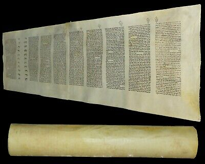 Complete Ancient Esther Scroll Megillah Handwritten On Parchment 100 yrs Europe.
