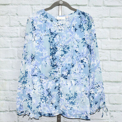 Belle by Kim Gravel Ruched V-Neck Blouse with Tie Sleeve Sz M (Blue) #601962
