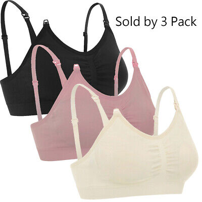 Maternity Nursing Bra Breastfeeding with Pads Breast Feeding Tank Top, 3 Pack