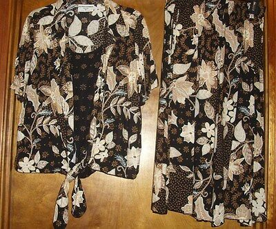 Alfred Dunner Ladies' 2-pc outfit Petite 8P &12P black/brown/creme Polyester