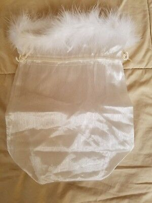 White victoria secrets lingerie bag with feathers