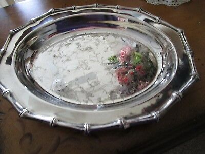 Vintage Silver Plate Bamboo Edge Etched Floral & Butterfly Serving Tray