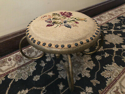 Victorian Antique Gilt Wood Base Ornate Iron Legs Needlepoint Round Foot Stool