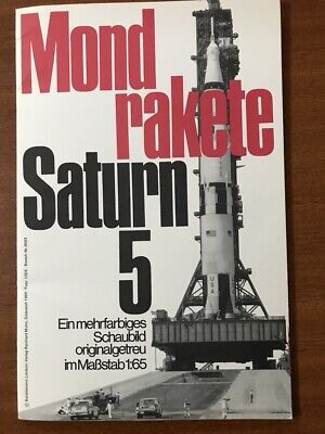 Saturn 5 Space Rocket Apollo original folding poster 1969 Germany