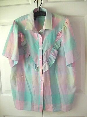Ladies/Womens/Lady's/Womans CAMEO ROSE Ruffled Front~ Button Front Blouse, Sz 42