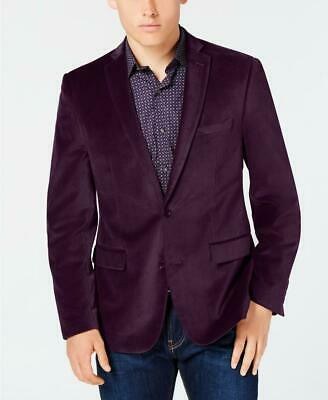 Men Bar III Purple Slim Fit Velvet Jacket Sport Coat Blazer 40S 11247
