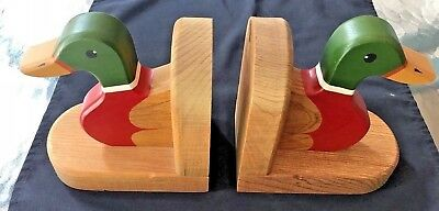 Vintage Duck Bookends - Wood Artisan Crafted, Made by Artist, Phil Markham