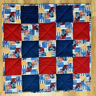 Baby Quilt Handmade Red Blue Nautical Plaid Patchwork Boys Crib Blanket New