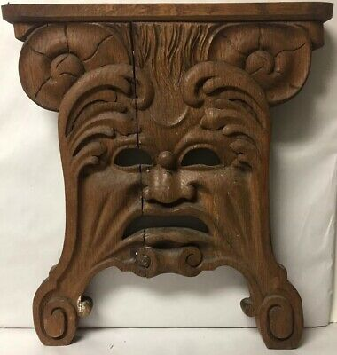 Antique Victorian Theater Decor Wood Carved Drama Face Architectural Salvage