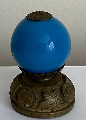 Antique Heavy Chinese Hat Finial Royal Blue Porcelain W/ Gold Or Brass Metal