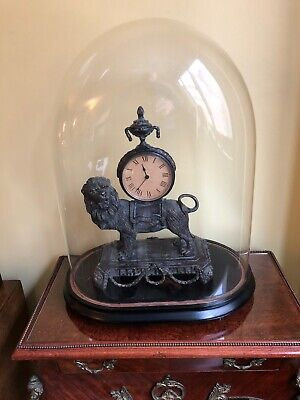 Bronze Lion Clock With Antique French Glass Dome