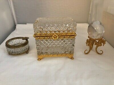 French Gilt Bronze Ormolu Cut Crystal Footed Jewelry Box Ashtray Glass Egg Stand