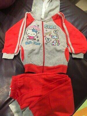 Kids Girls Disney HELLO KITTY Cotton Casual Sleeved Hooded Tracksuit 7years Set