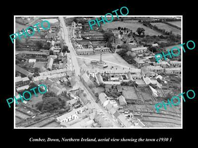OLD 8x6 HISTORIC PHOTO COMBER NORTHERN IRELAND AERIAL VIEW OF TOWN c1930 2