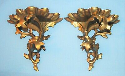 Pair Petite Italian Gold Gilt Florentine Vintage Wall Sconce Shelves