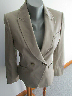 Tahari By Asl  Size 6 Beige Double Breasted Blazer Suit Jacket Notched Lapel Euc