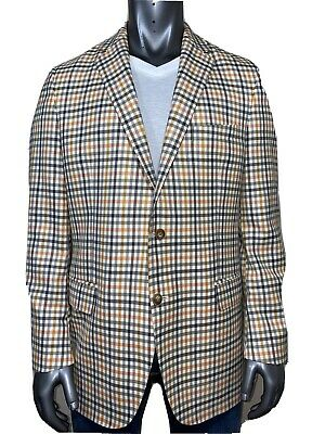Peter Millar Plaid Wool Sport Coat Size 44T 2-Button