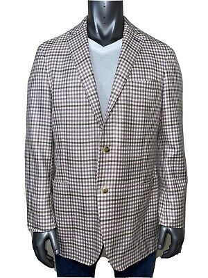 Peter Millar Plaid Lavender Sport Coat Todd Martin Italy Size 44T Two Button