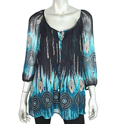 NY Collection Womens Top Large Black Blue Peasant Sleeve Pullover Boho Tunic