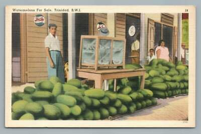 """Watermelons for Sale"" TRINIDAD Vintage PEPSI Sign~Port of Spain Linen 1940s"