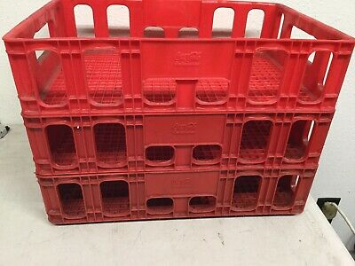 "Qty 3 Coca-Cola Plastic Stackable Crate 18"" x 12"" Vintage Red Coke Beverage Tray"