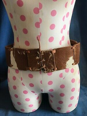 "30"" Vintage Cowhide Pinto Hair Leather Women's Belt Western Cowgirl"