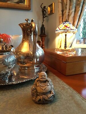 Antique Chinese carved seated laughing Spiritual Buddha Statue Figure