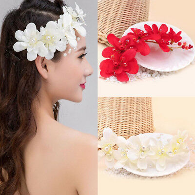Fashion Chic Wedding Bridal Pearl Cloth Flower Headband Hair Hoop Hair Accessory