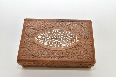 Vintage Made In India Hand Carved Wood Jewelry Keepsake Box With Divider