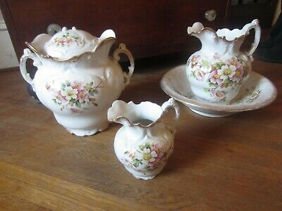 Antique Chamber Set Pitchers with Dogwood blossoms Victorian