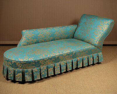 Antique Damask Upholstered Chaise Longue c.1860.